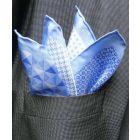 Light Blue Silk Hankie in Four Pattern Design
