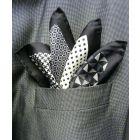 Black Silk Hankie in Four Pattern Design