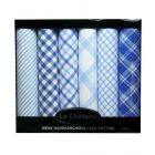 Box of Six Cotton Hankies with Blue Stripe & Check Designs