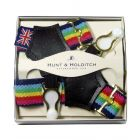 Navy and Bright Stripe Sock Suspenders from Hunt and Holditch