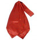 Red with Medium Black Polka Dots Silk Cravat from Knightsbridge Neckwear