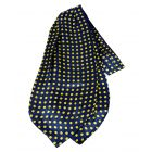 Navy with Medium Yellow Polka Dots Silk Cravat from Knightsbridge Neckwear