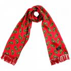 Tootal Silk Scarf - Scooter Red with Green Paisley