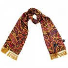 Tootal Silk Scarf - Oxblood with Bold Paisley Design