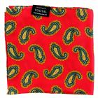 Tootal Silk Handkerchief - Scooter Red with Green Paisley