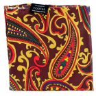 Tootal Silk Handkerchief - Oxblood with Bold Paisley Design
