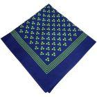 Navy Cotton Bandana with Triple Green Spots