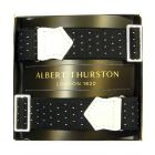 Albert Thurston Black Armbands with White Pindot and White Leather