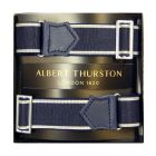 Albert Thurston Navy Armbands with White Edge and Navy Leather