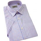 Peter England Short Sleeve Shirt in Blue and Pink Graph Check