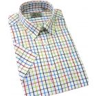 Peter England Button Collar Short Sleeve Shirt in Navy and Red Tattersall Check