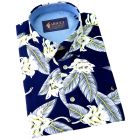 Gabicci - Mens Short Sleeve Cotton Shirt in Navy with White Floral Design