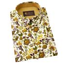 Gabicci - Mens Short Sleeve Cotton Shirt in Cream with Tan and Green Floral Design