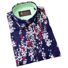 Gabicci - Mens Short Sleeve Cotton Shirt  in Navy with Red and White Floral Design