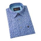 Gabicci - Mens Short Sleeve Cotton Shirt  in Blue with Small White Floral Design