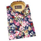 Gabicci - Mens Long Sleeve Cotton Shirt with Roses Design