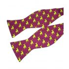 Wine with Gold Stags Silk Bow Tie from Fox & Chave