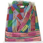 linenHall - Mens Cotton Velour Gown - Bright Multi-Colour Blocks