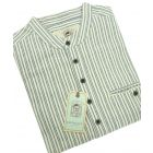 Traditional Flannel Grandfather Shirt in Blue and Ivory Stripe