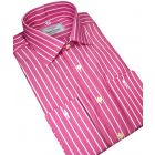 Classic Butcher Stripe Cotton Shirt in Magenta.