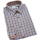 Blue & Brown Country Check Cotton Shirt from Woods of Shropshire