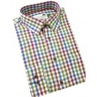 Blue Green & Plum Bold Country Check Cotton Shirt from Woods of Shropshire