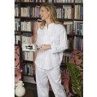 Ladies White Satin Stripe lightweight Cotton pyjamas by Bonsoir of London