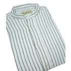 Black Stripe Cotton Grandad Shirt From Magee