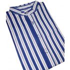 Blue Printed Stripe Grandad Collar Nightshirt
