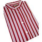 Wine Printed Stripe Grandad Collar Nightshirt
