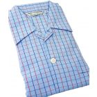 Blue with Red and Black Check -Mens Tie Waist Cotton Pyjamas from Derek Rose
