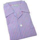 Bright Pink and Lilac Stripe -Mens Tie Waist Cotton Pyjamas from Derek Rose