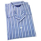 Mens Cotton Pyjamas - Multi Blue and White Striped from Bonsoir of London