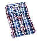 Derek Rose. Mens Tie Waist Cotton Pyjamas in Blue Plum and White Check