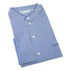 Derek Rose. Mens Grandad Collar Cotton Nightshirt in Blue and Yellow Small Check