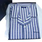 Guasch - Mens Brushed Cotton Pyjamas in Denim and White Stripe