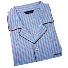Guasch - Mens Cotton Pyjamas in Red and Sky Stripe
