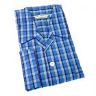 Derek Rose - Kansas 62 - Mens Blue Check Cotton Pyjamas - Elastic Waist