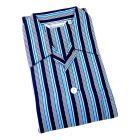 Derek Rose - Romeo 85 - Navy Bright Blue and White Stripe Cotton Pyjamas - Tie Waist