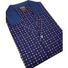 Navy Neat Design Cotton Tie Waist Pyjamas