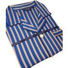 Navy and Green Stripe Sateen Weave Cotton Pyjamas