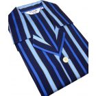 Navy and Royal Stripe Satin Weave Tie Waist Pyjamas