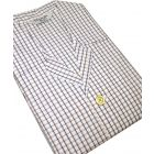 Navy Beige Check Elastic Waist Cotton Pyjamas