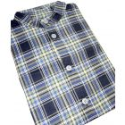 Brushed Cotton Grandad Collar Blue Tartan Nightshirt