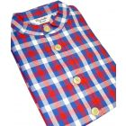 Christopher James Red & Blue Check Cotton Grandad Collar Nightshirt.