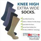 Norfolk Socks - Morgan - Mens Long Extra Stretch with No Elastic Socks -Wool