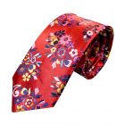 Limited Edition Platinum Silk Tie from Van Buck. Bright Red with Gold and Pink Floral Leaves