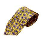 Yellow Small Paisley Printed Silk Tie