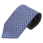 Dark Blue Silk tie with White and Blue Edged Squares
