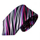 Limited Edition Silk Tie in Black with Pink Party Strings from Van Buck